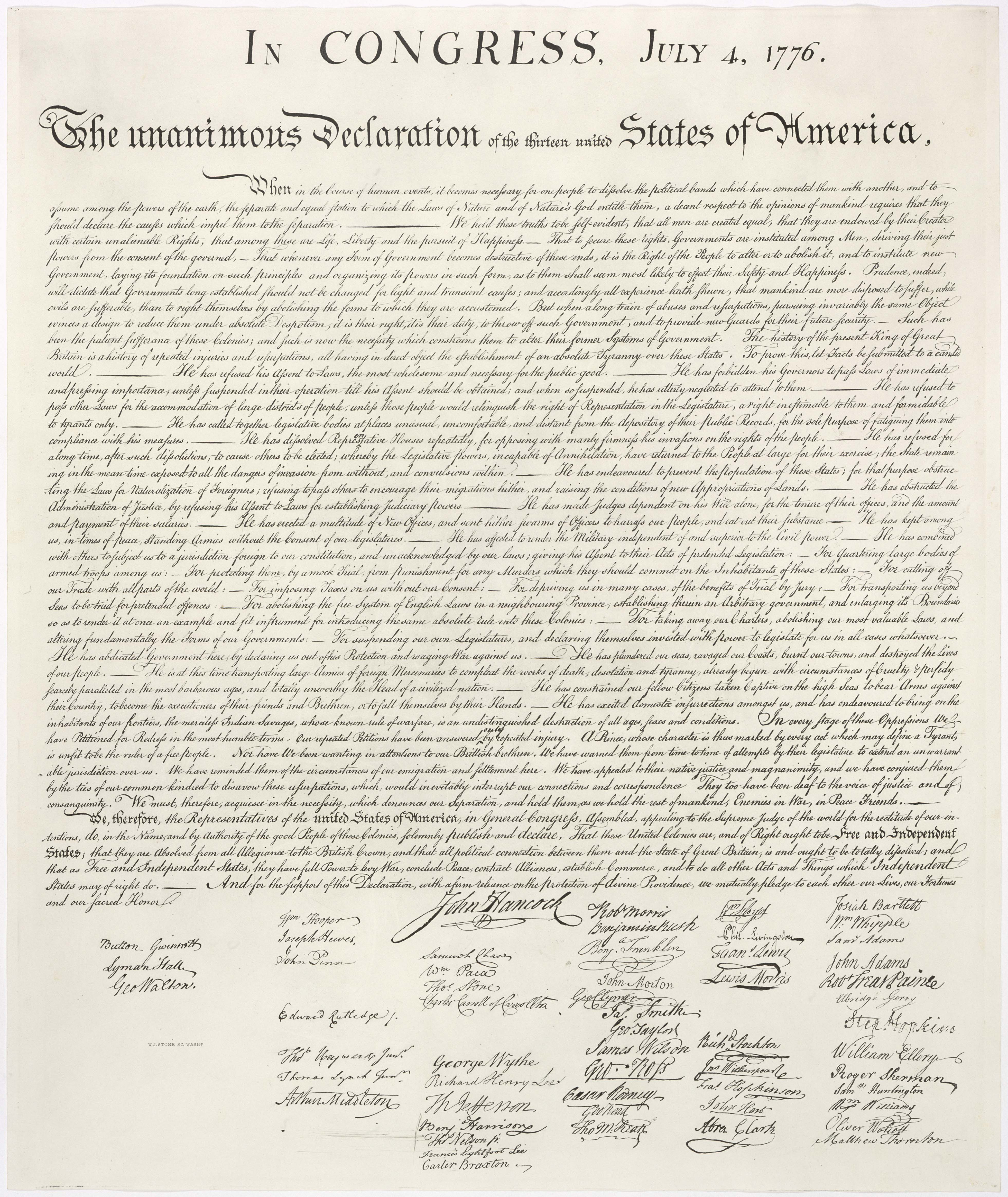 Thoughts Declaration of Independence modern translation – Declaration of Independence Worksheet